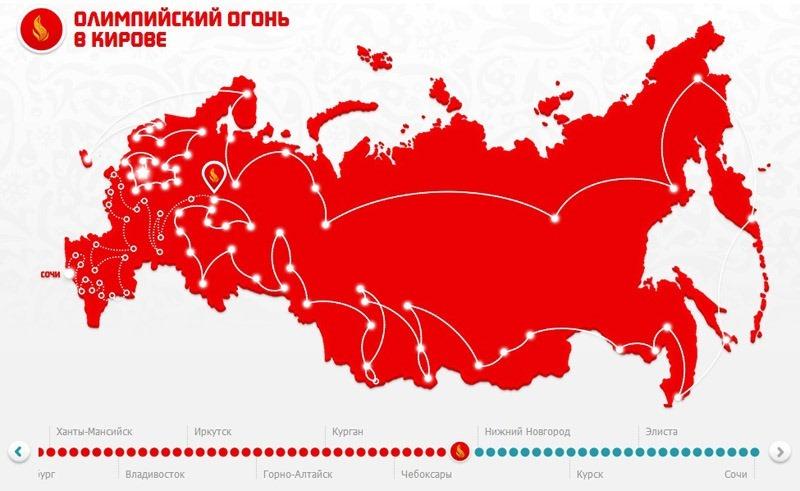 Олимпийский огонь в Кирове.