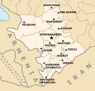 Армения. Нагорный Карабах - карта.
