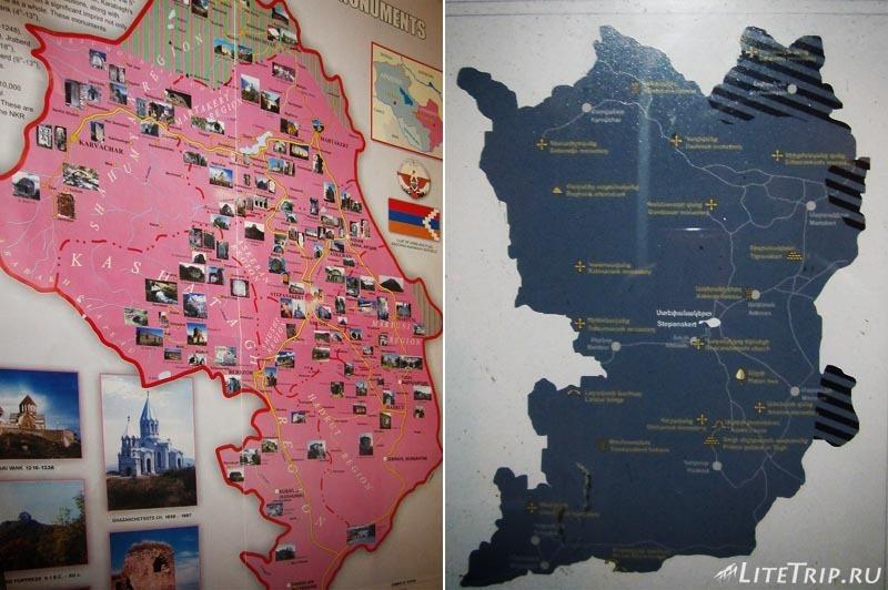 Нагорный Карабах. Степанакерт - карта достопримечательностей в МИДе.