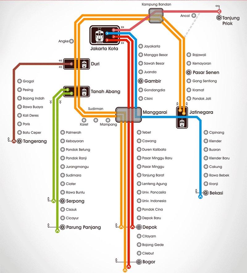 Индонезия. Карта пригородных поездов.