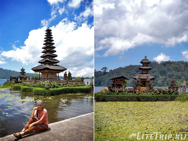 Индонезия. Бали. Храм Улун Дану с многоярусными пагодами.