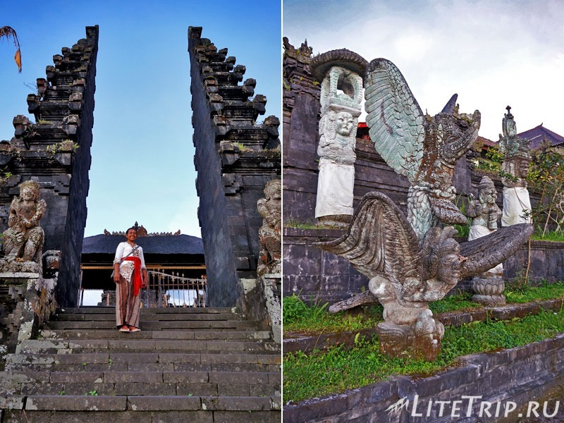 Индонезия. Бали. Храм Бесаких. Скульптуры и ворота на лестнице.
