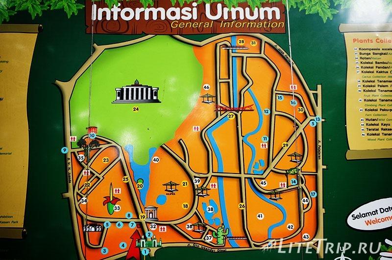 Индонезия. Ява. Богор. Ботанический сад -карта