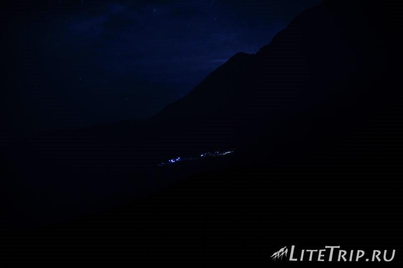 Индонезия. Ява. Вулкан Иджен. Горящая сера. У кратера
