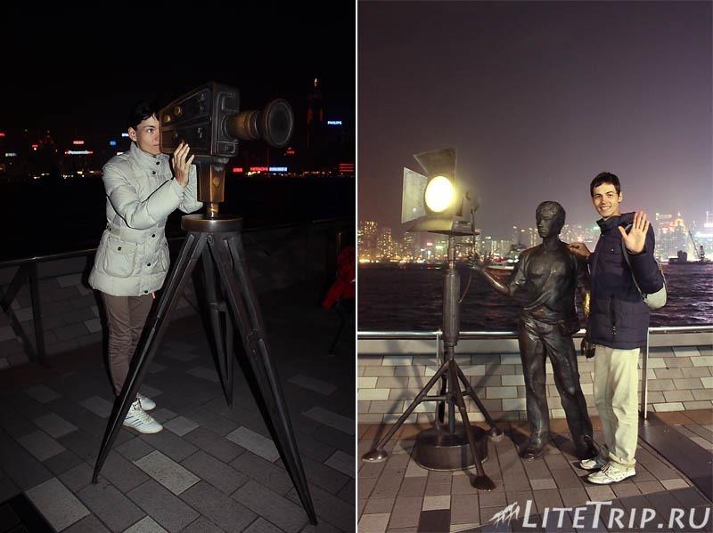 Гонконг. Фотографируемся на Аллее звезд.