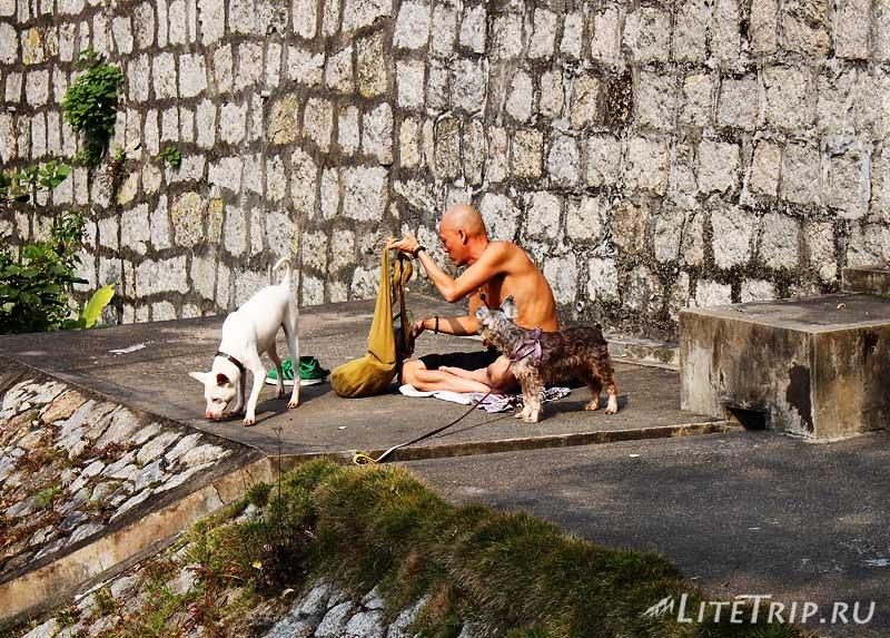 Макао. Монах у стен форта Богоматери.