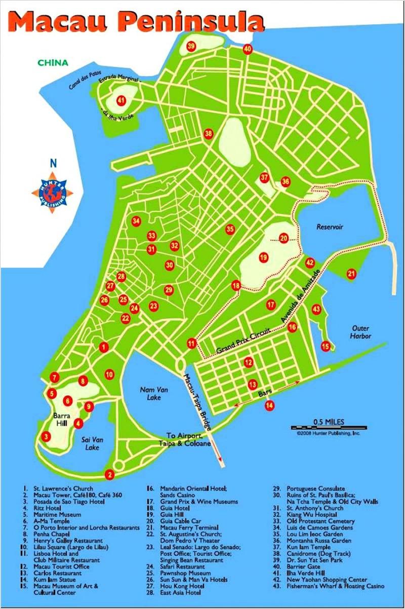 Карта Макао с достопримечательностями.