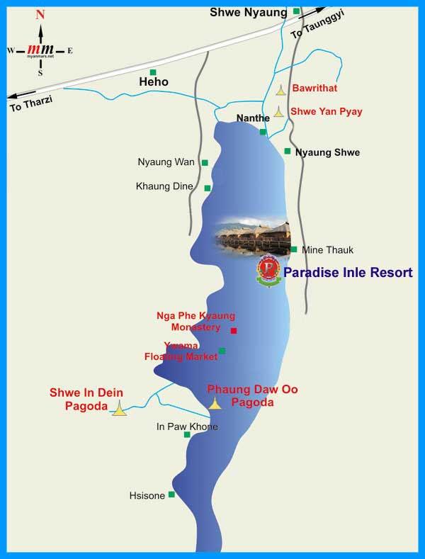 Карта озера Инле.