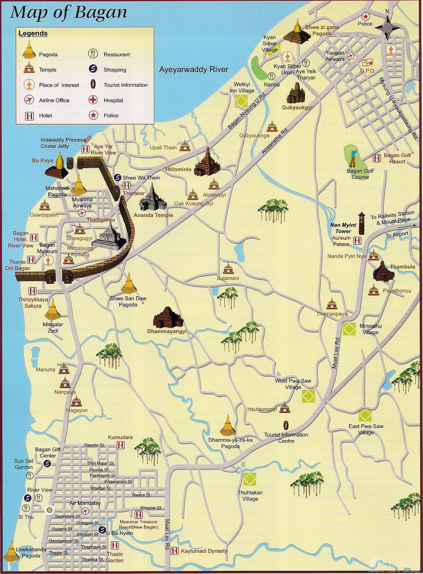 Карта Багана.