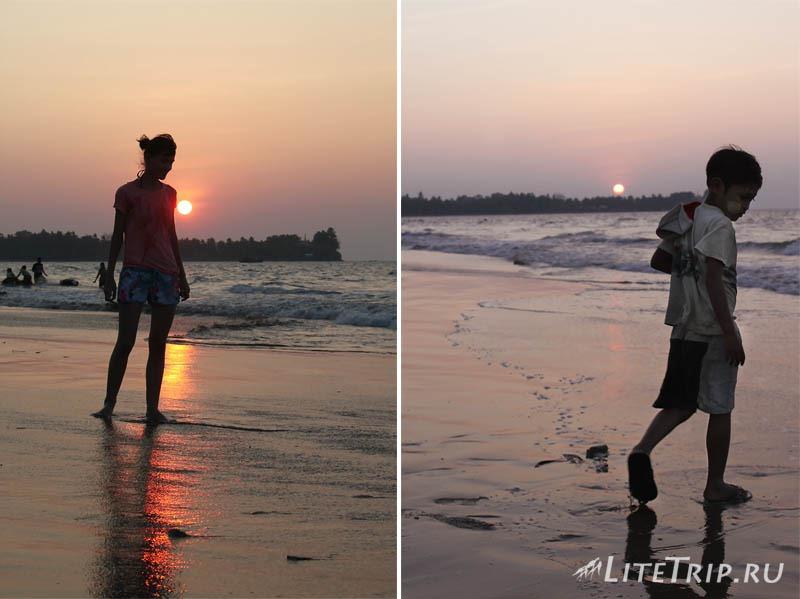 Пляж Чаунг Та. Закат.