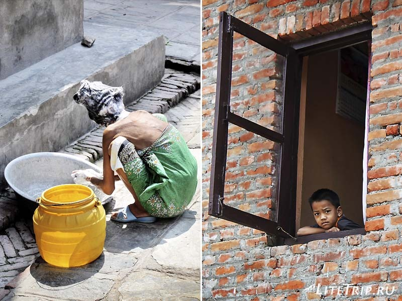 Местная жизнь и люди Катманду (Непал).