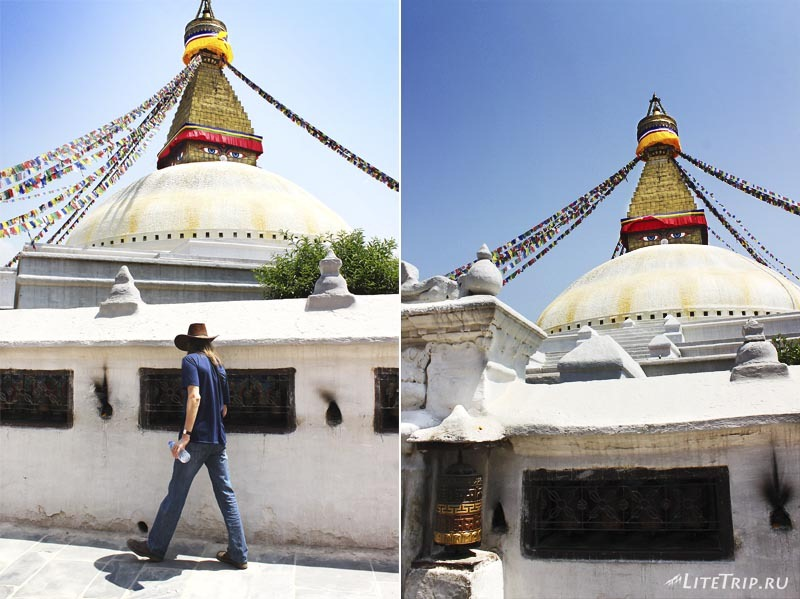 Ступа Боднатх в Катманду (Непал). Молитвенные барабаны.