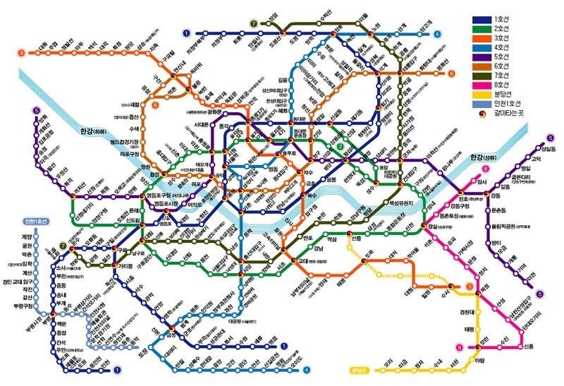 Южная Корея. Карта метро в Сеуле.