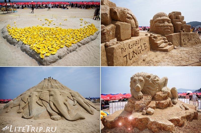 Южная Корея. Фестиваль песка в Пусане - песочные фигуры..