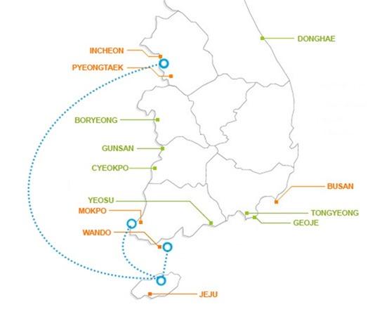 Южная Корея. Карта паромов на остров Джеджу.