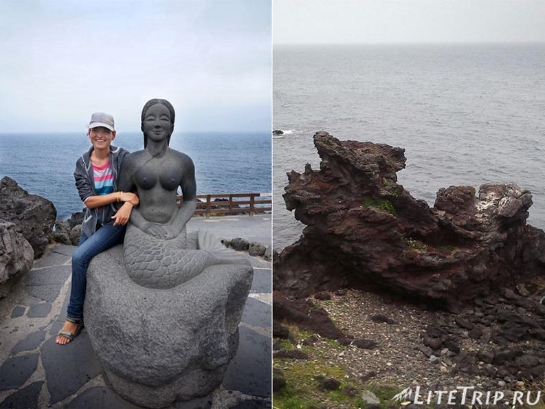 Южная Корея. Джеджу - скульптура русалки на набережной.