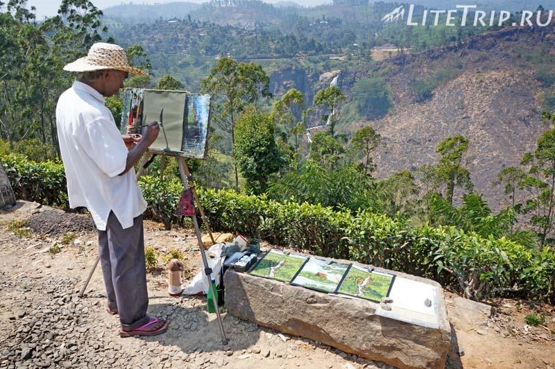 Шри-Ланка. Нувара-Элия. Водопад Девон - художник.