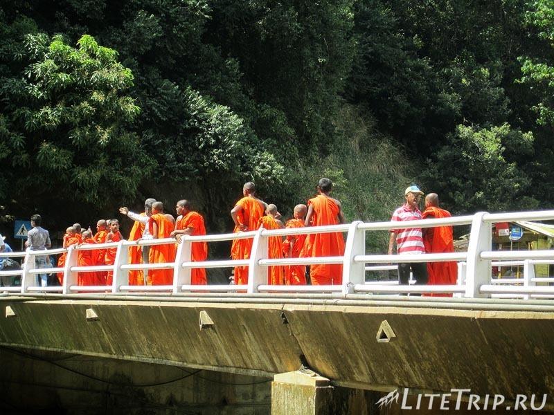 Шри-Ланка. Элла. Водопад Рована - монахи на мосту.
