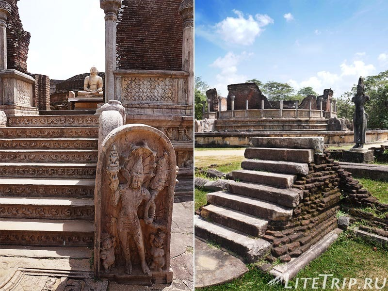 Шри-Ланка. Полоннарува - круглый дом реликвий Ватадаге и каменные статуи