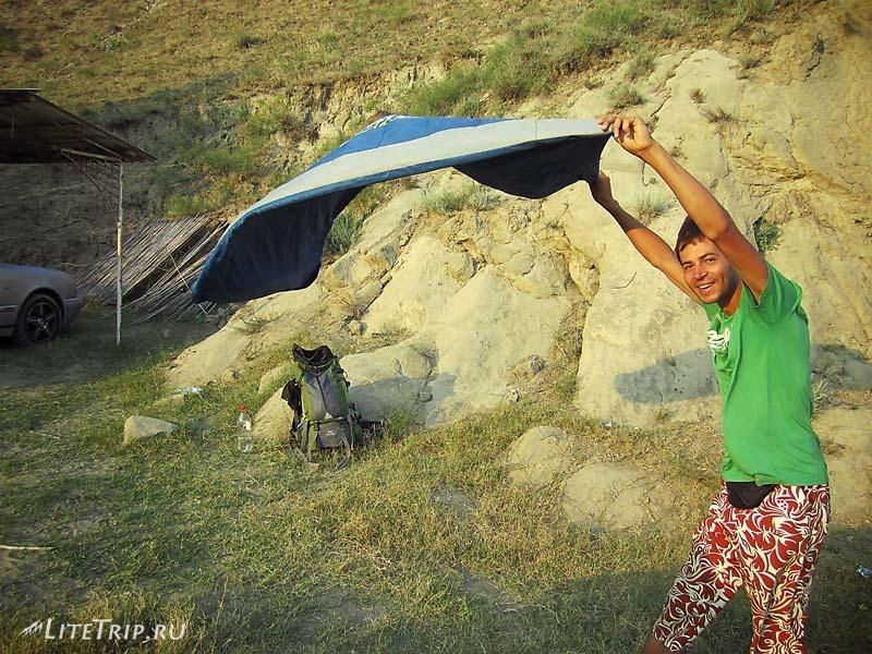 Азербайджан. Мингечаурское водохранилище. Сильный ветер.