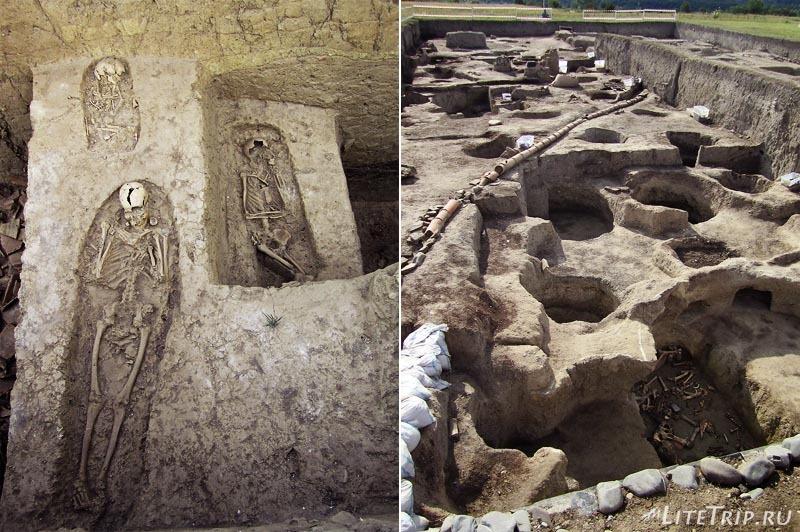 Азербайджан. Раскоанные скелеты древних албанцев в Кабале.