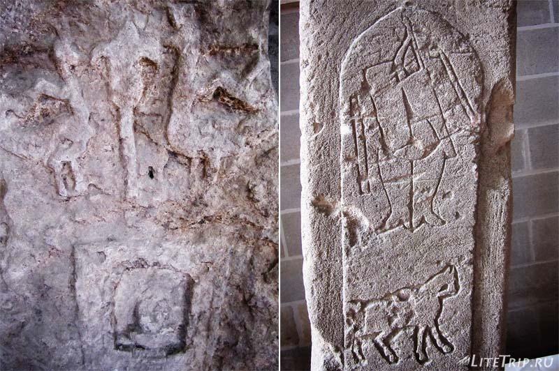 Азербайджан. Музей храма Атешгях - изображения на камнях.