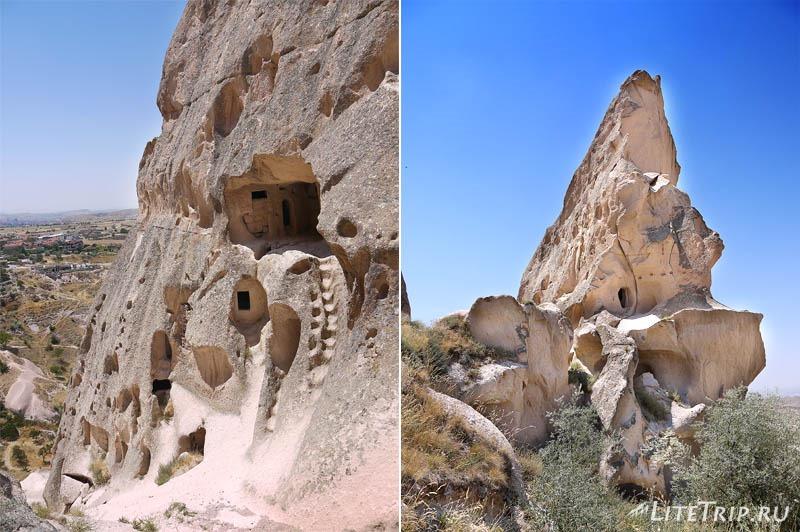Турция. Крепость Учхисар - отвесная стена.