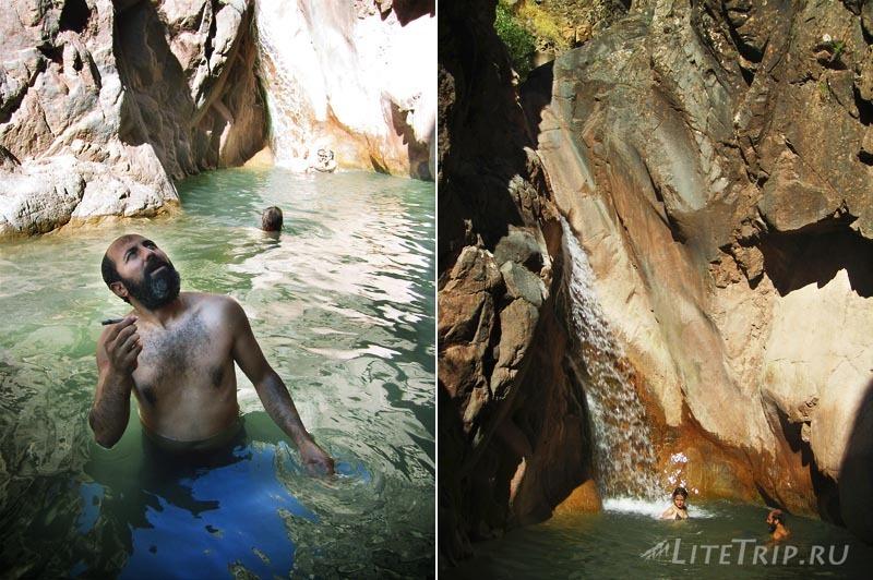 Турция. Ата и Эджи у водопада в Тунджели.