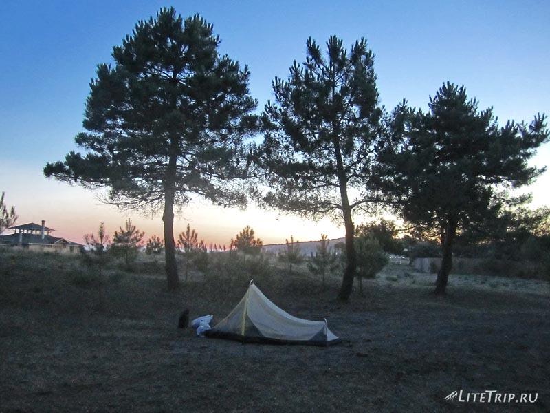 Черногория. Велика Плажа в Ульцине. Наша палатка.