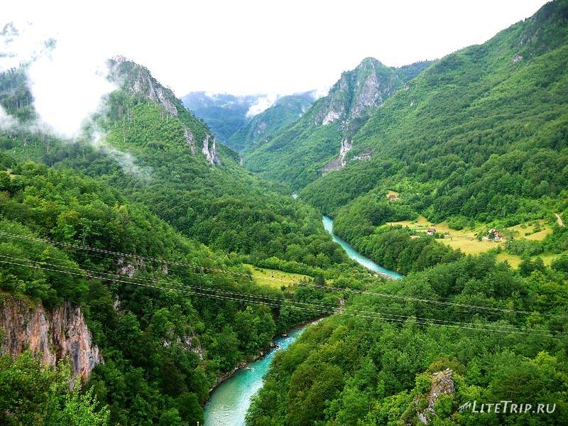 Черногория. Вид на реку каньона.