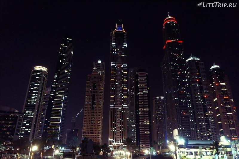 ОАЭ. Дубай Марина - ночные огни города.