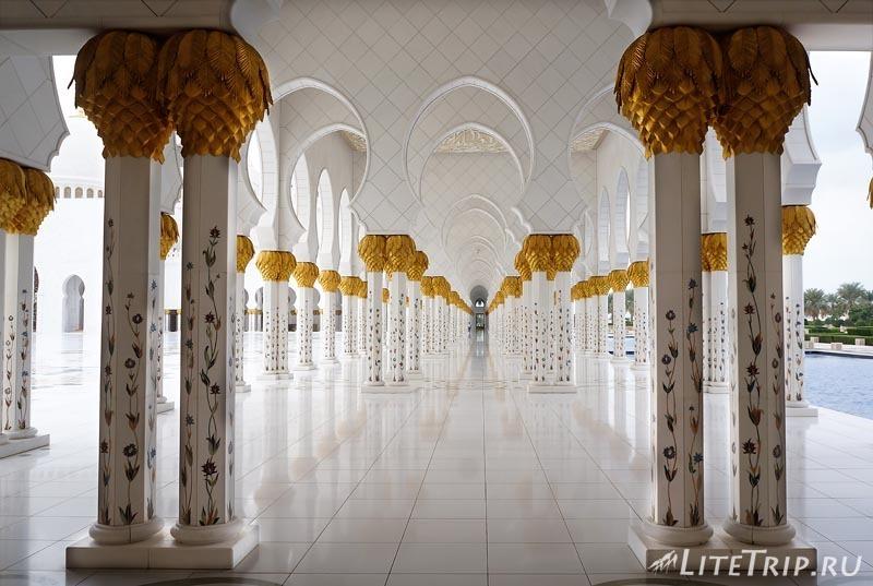 ОАЭ. Абу Даби - большая мечеть шейха Заеда - коридоры.