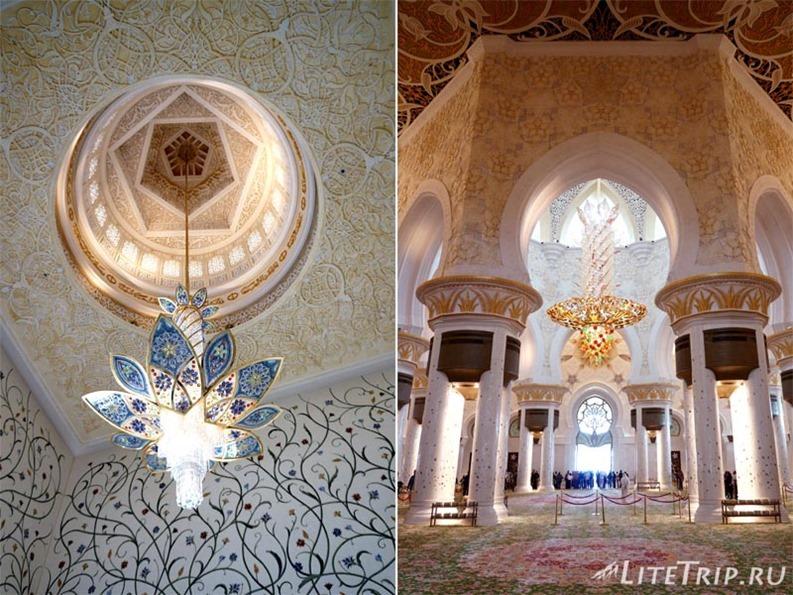 ОАЭ. Абу Даби - большая мечеть шейха Заеда - холл.