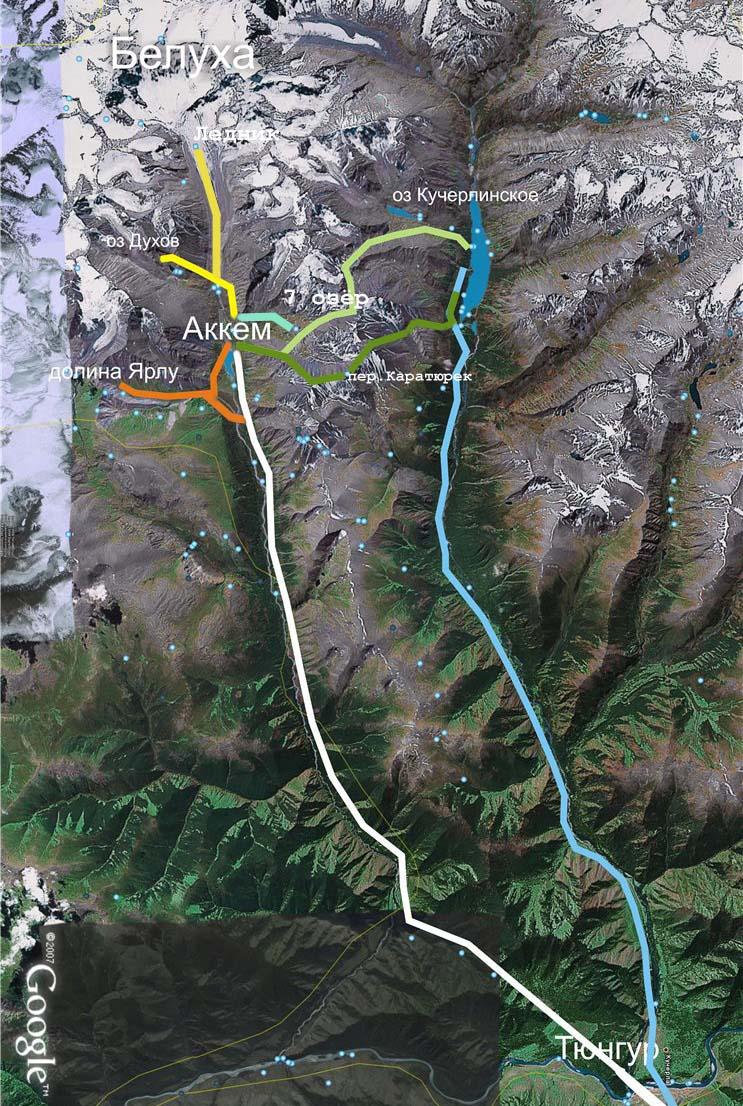 Карта нашего маршрута по Алтаю.
