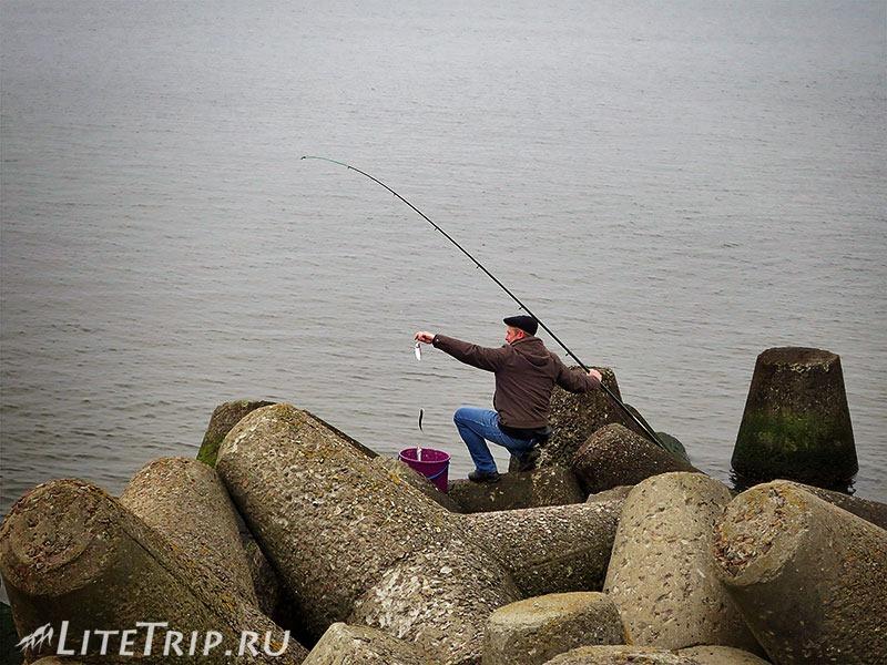 Калининградская область. Балтийск. Набережная. Рыбак.