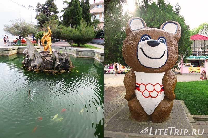 Крым. Алушта. Набережная - фонтан и олимпийский мишка.