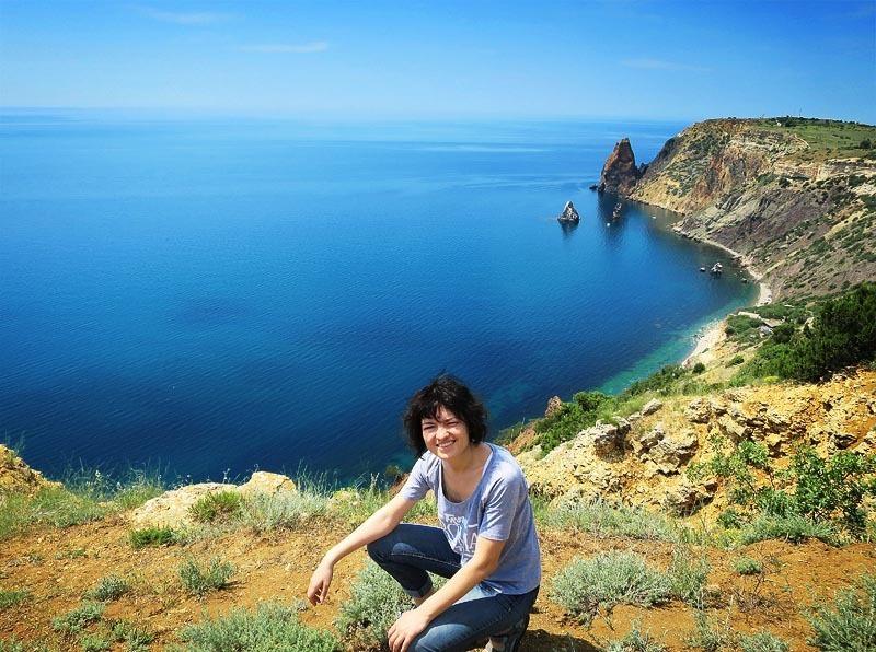Крым. Мыс Фиолент. Вид на море и скалы.