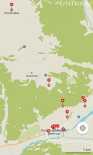 Грузия. Местия. Карта-маршрут к озерам Корульди. Общая
