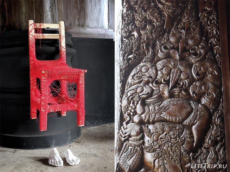 Черный храм (дом) в Чианг Рае. Декор домов.