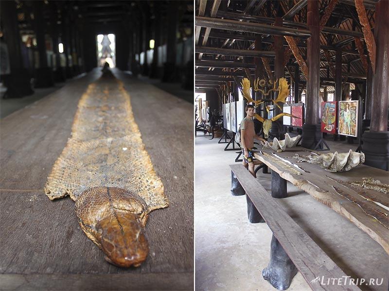 Черный храм (дом) в Чианг Рае. Большой стол.