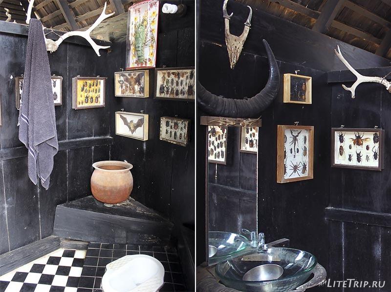 Черный храм (дом) в Чианг Рае. Туалет.