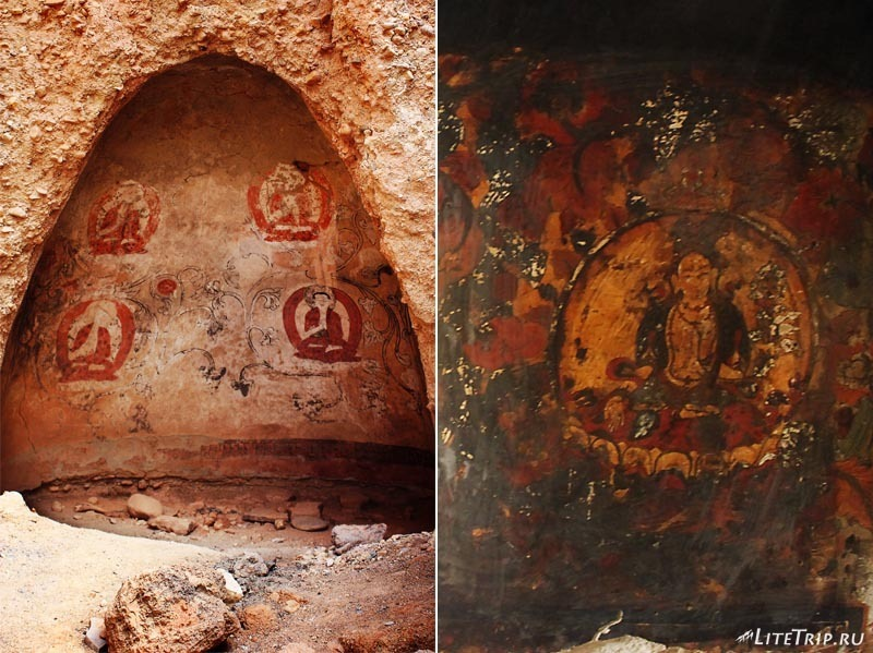 Тибет. Долина Гаруды - фрески в пещерах серебряного дворца.